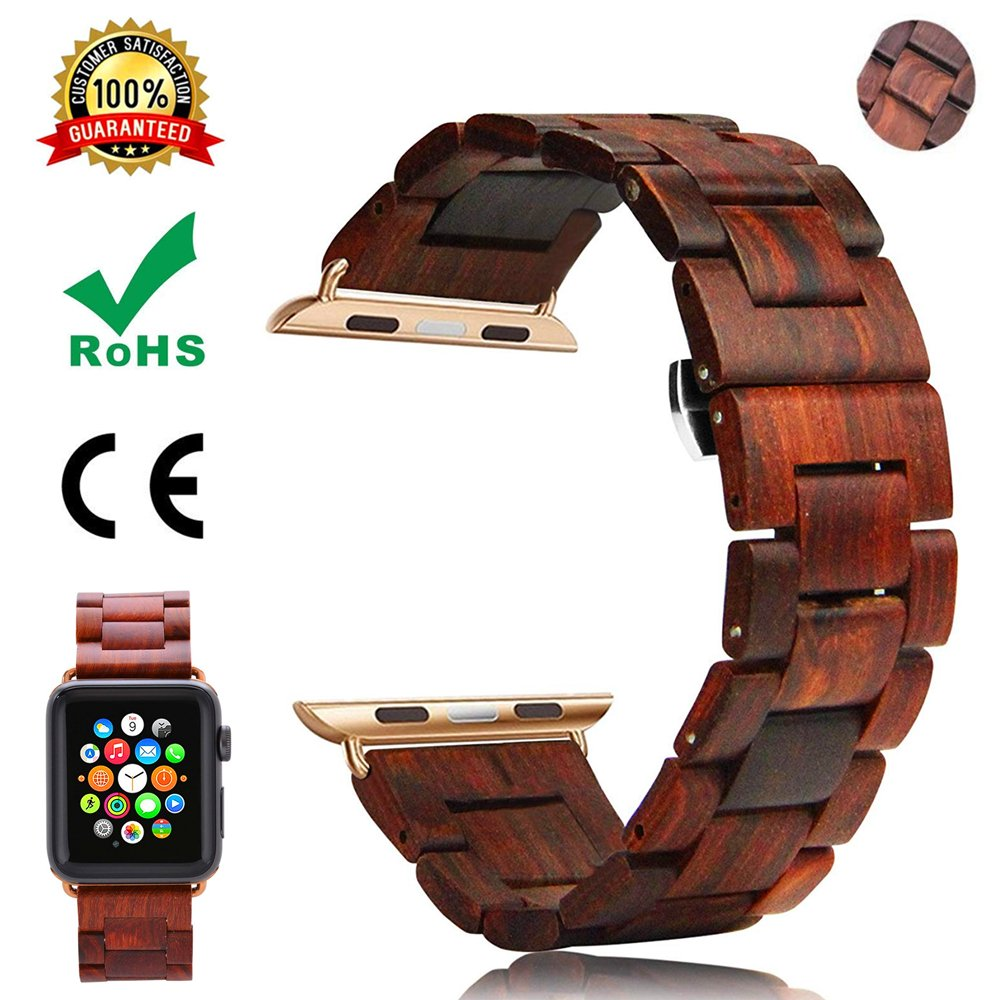 Watch Band For Apple Watch,TFSeven Solid Handmade Wooden Bamboo Business Replacement iWatch Strap for iWatch Apple Watch Nike+ Sport Edition Series 1 Series 2 Series 3, S/M Size (Brown, 42mm)