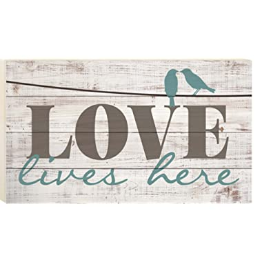 P. GRAHAM DUNN Love Lives Here Distressed 14 x 24 Wood Boxed Pallet Wall Art Sign Plaque