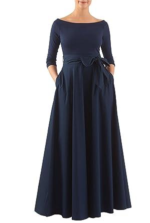 e669c6a6eaa eShakti Women s Mixed media sash tie maxi dress XS-0 Regular Symphony  blue deep