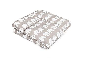 Spieldecke 100x100 SWADDYL /® Baby Krabbeldecke Wolken Grau Kuscheldecke Laufgittereinlage 100x100 gro/ß gepolstert