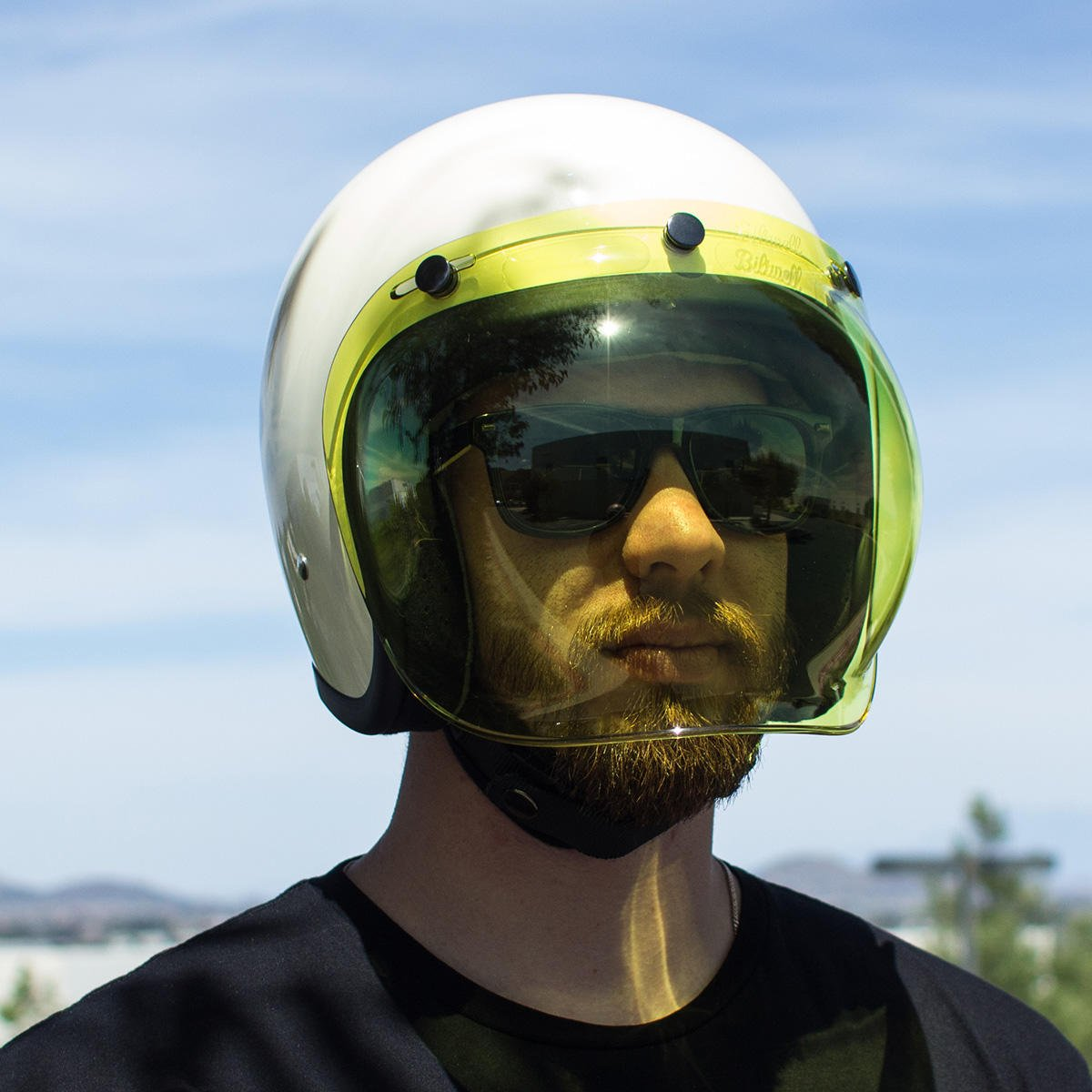 Bubble Visor Three Buttons Flip Yellow Gold Universal for Jet Helmet Compatible with Helmets Biltwell Bell DMD Bandit AFX Nolan AGV