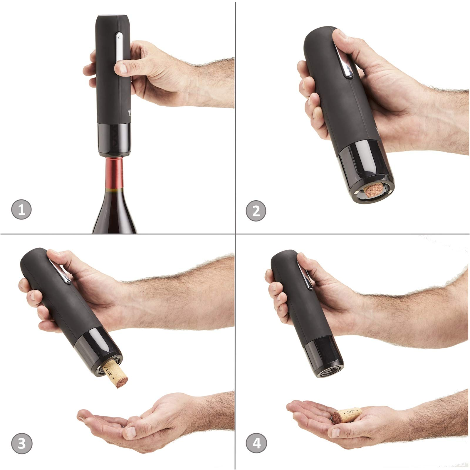 Royaluxe - Deluxe 7 Piece Electric Wine Opener Gift Set | Rechargeable Wine Bottle Opener with Aerator, Premium Wine Preservation Vacuum System, 2 Bottle Stoppers, Foil Cutter & Charging Base | Elegant Matte Black Finish with Stainless Steel Accents by Royaluxe (Image #4)