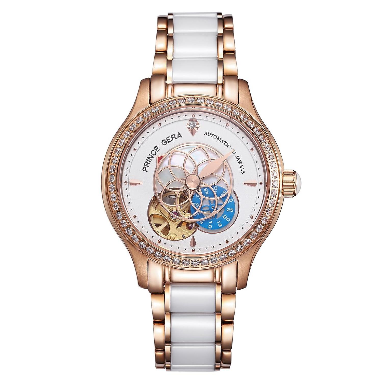 Prince Gera Damen Luxus-Rose Gold Silber Zwei Ton Keramik Armbanduhr fÜr Damen Wasserdicht Automatik Diamanten Kleid