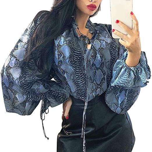 AFFEco blusa de gasa con mangas tipo farol para mujer, One Color, medium: Amazon.es: Amazon.es
