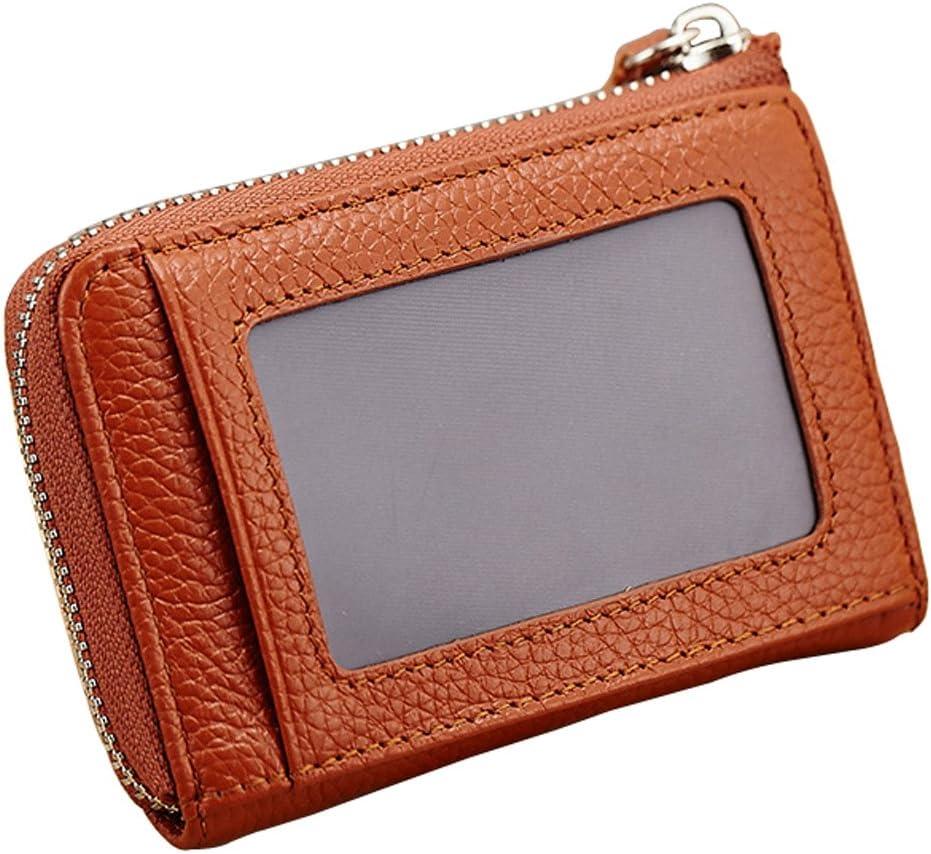 Esdrem Unisex Genuine Leather Zip Change Purse Coin Card Case Wallet w Key Ring Keychain Black
