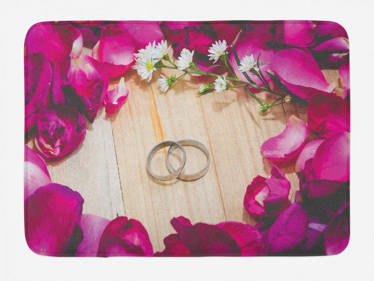 Lohebhuic Two Rings on a Wooden Board Surrounded by Pink Rose Petals Romantic Wedding Plush Bathroom Decor Mat with Non Slip Backing,46.8'' W by 70.98'' L