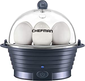 Chefman Rapid Electric Egg Cooker for 6 Eggs with Omelet Tray, Midnight Blue (Renewed)