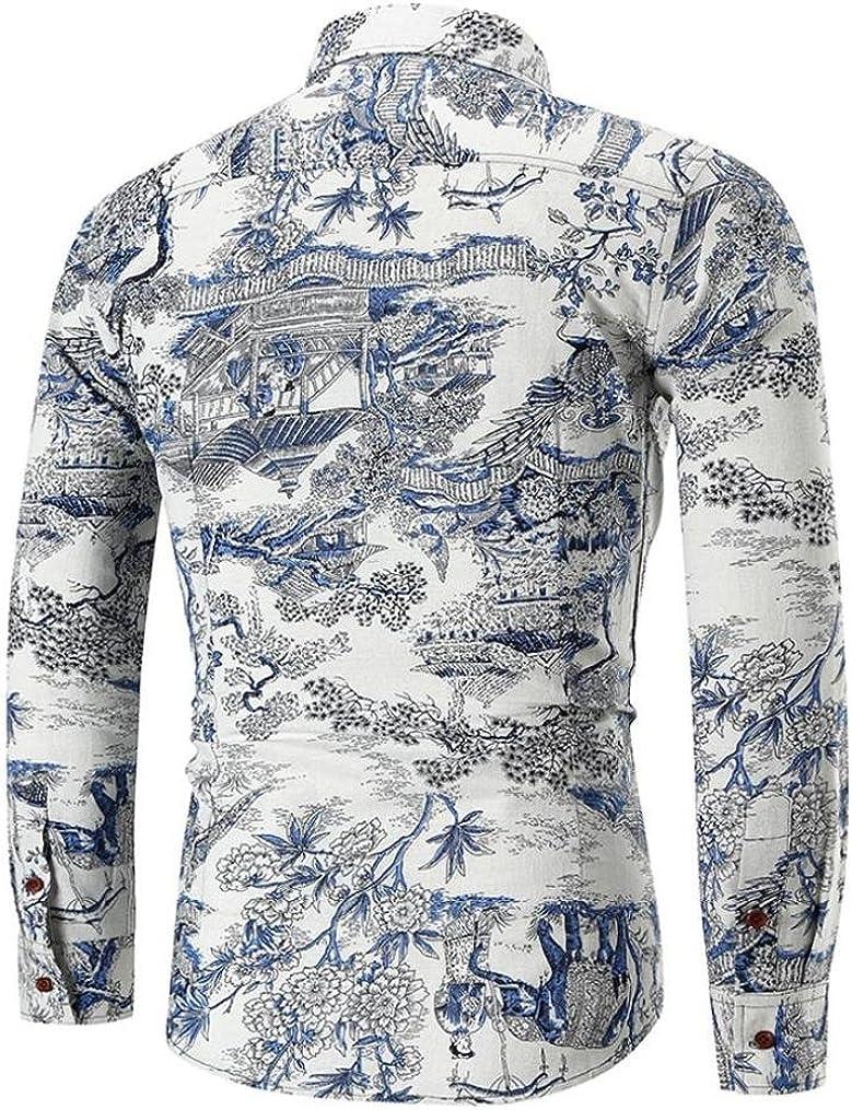 Mens Shirt Stylish Slim Fit Button Down Long Sleev Personality Retro Floral Shirt