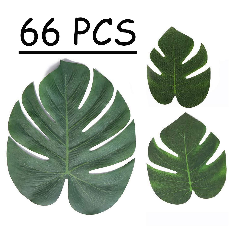 Moon Boat Tropical Palm Leaves Plant Imitation Leaf-Hawaiian/ Luau/Jungle Party Table Decorations (66PCS)