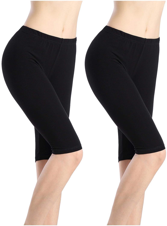Women Under Dress Tight Shorts Stretch Knee Length Pants Thin Yoga Short Legging