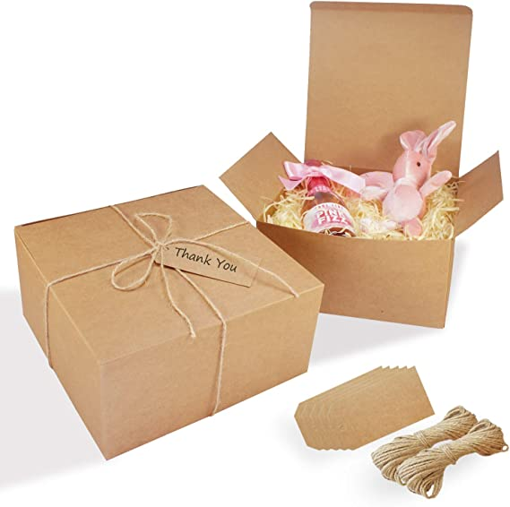 For Wedding 12 Pack of 6-12x6-12x1-58 Brown Kraft Gift Boxes with 12 PERSONALIZED Labels Shower FavorsCookiesCandy Birthday Party