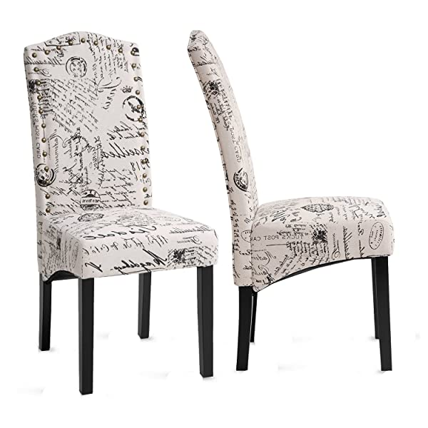 Merax PP036312AAA Dining Script Fabric Accent Chair with Solid Wood Legs, Set of 2