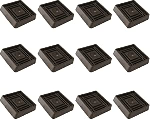 VOCOMO 2X2 Square Rubber Furniture Caster Cups with Anti-Sliding Floor Grip, 12 Pack, Brown