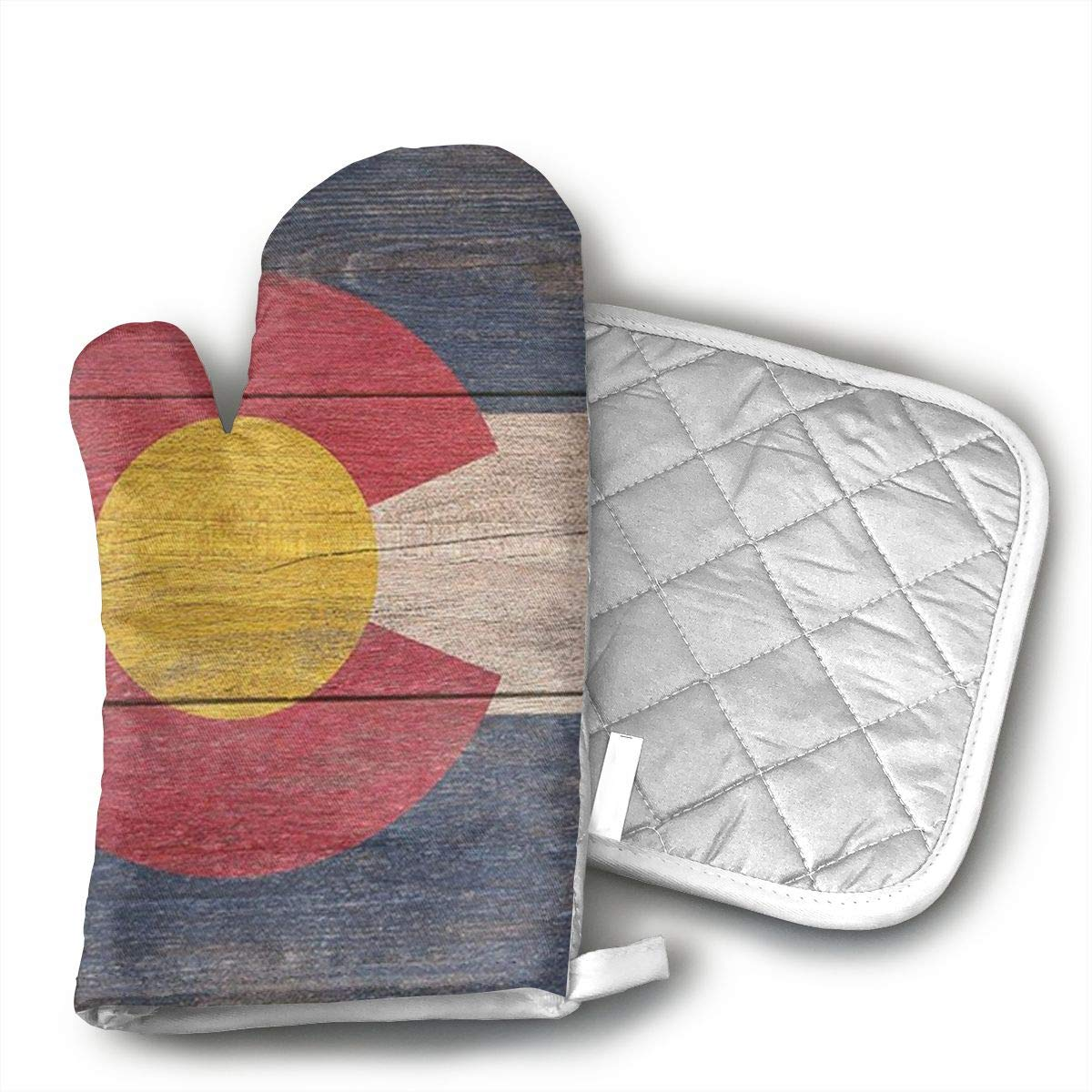 Wiqo9 Rustic Colorado State Flag Oven Mitts and Pot Holders Kitchen Mitten Cooking Gloves,Cooking, Baking, BBQ.