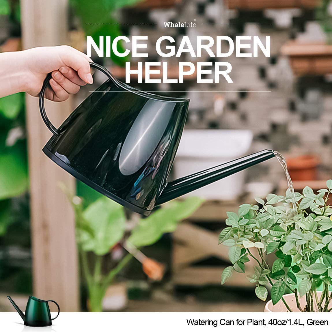 Green Modern Style Watering Pot with Long Spout THEKBS Plastic Watering Can 40oz//1.2L Small Size for Bonsai Indoors and Outdoors