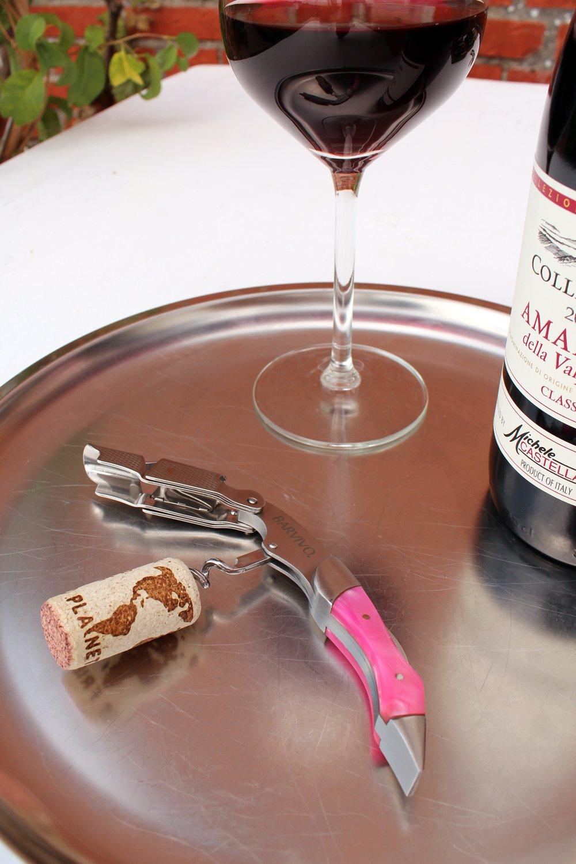 Birra barvivo Cavatappi Professionale Apribottiglie Perfetto per stappare Bottiglie di Vino Realizzato in Acciaio Inox e Resina Rosa. per Sommelier e Bartenders di Tutto Il Mondo