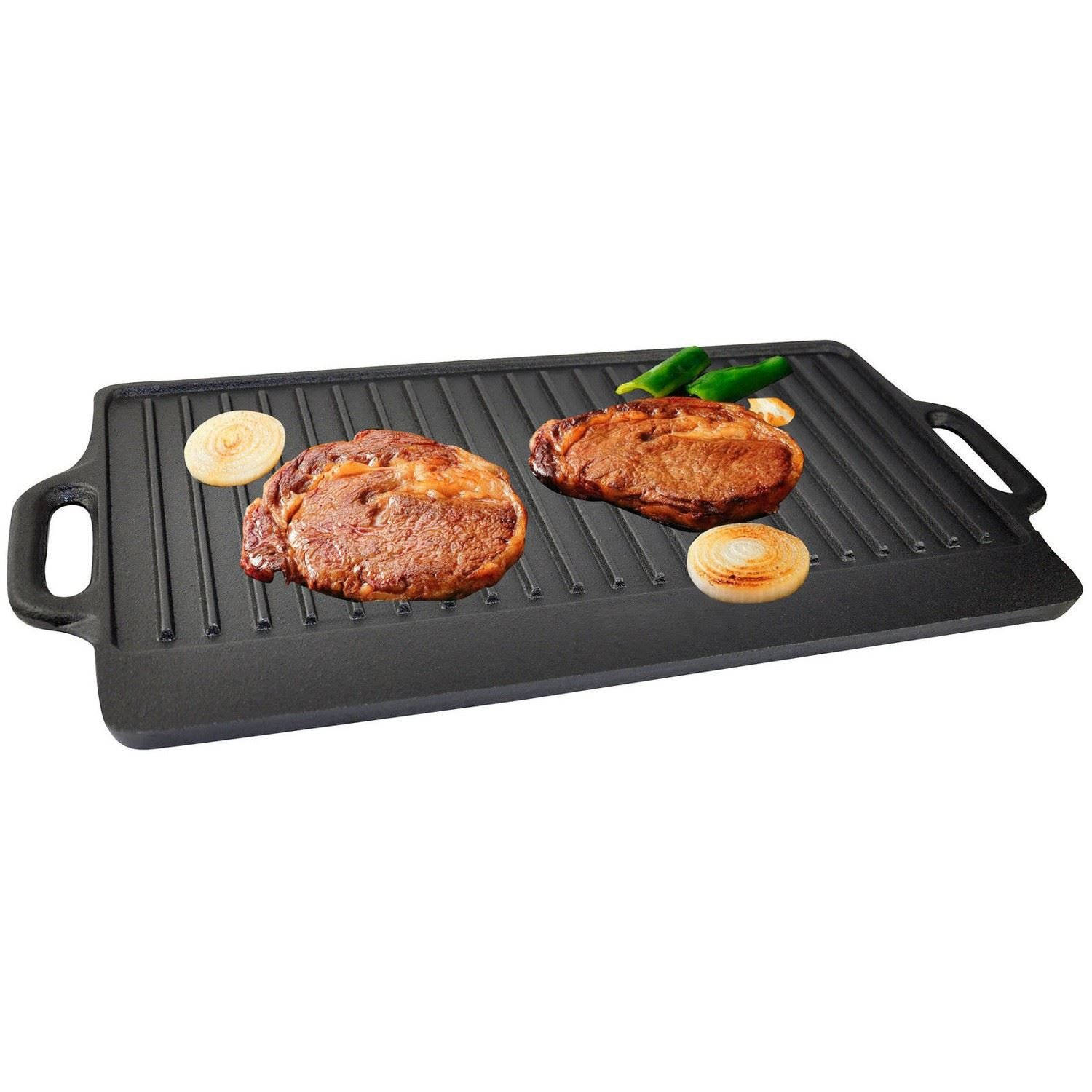 Small Non-Stick Cast Iron Reversible Steak Griddle Plate Indoor BBQ Hob Cooking