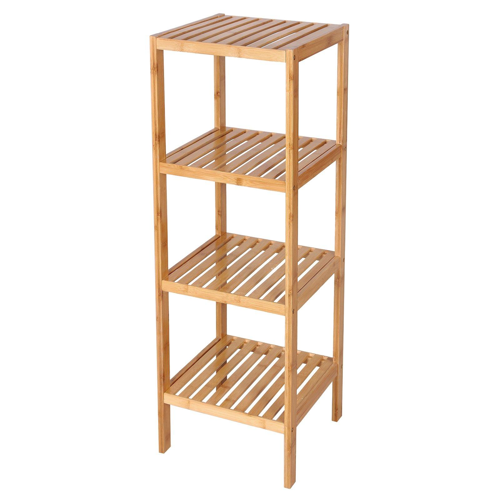 SONGMICS 100% Bamboo Bathroom Shelf 4-Tier Multifunctional Storage Rack Shelving Unit 38 5/8'' x 12 7/8'' x 12 7/8'' UBCB54Y