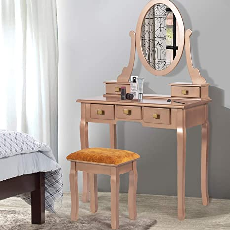 Amazon Com Joveco 31 Vanity Table Set With Mirror And Vanity Stool Small Desk Rose Gold Makeup Vanity Desk With 5 Drawers Mid Century Dressing Table Small Desks For Bedrooms Home Office Desk