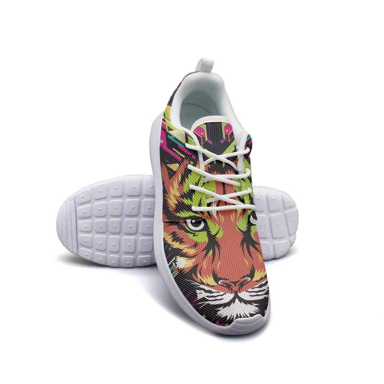 ERSER Pink Colorful Tiger Print Minimalist Running Shoes Women Road