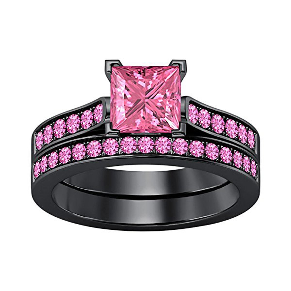 Gems and Jewels 2.75 Ct Princess Cut Pink Sapphire Wedding Band Engagement Bridal Ring Set 14K Black Gold Plated