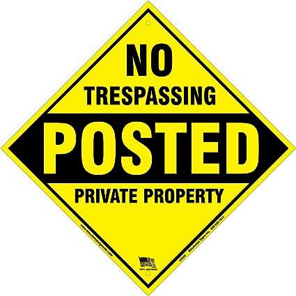 Dickem No Trespassing Posted Private Property Gelb Aluminium Schild 30 5 X 30 5 Cm X 040 Gelb Sport Freizeit