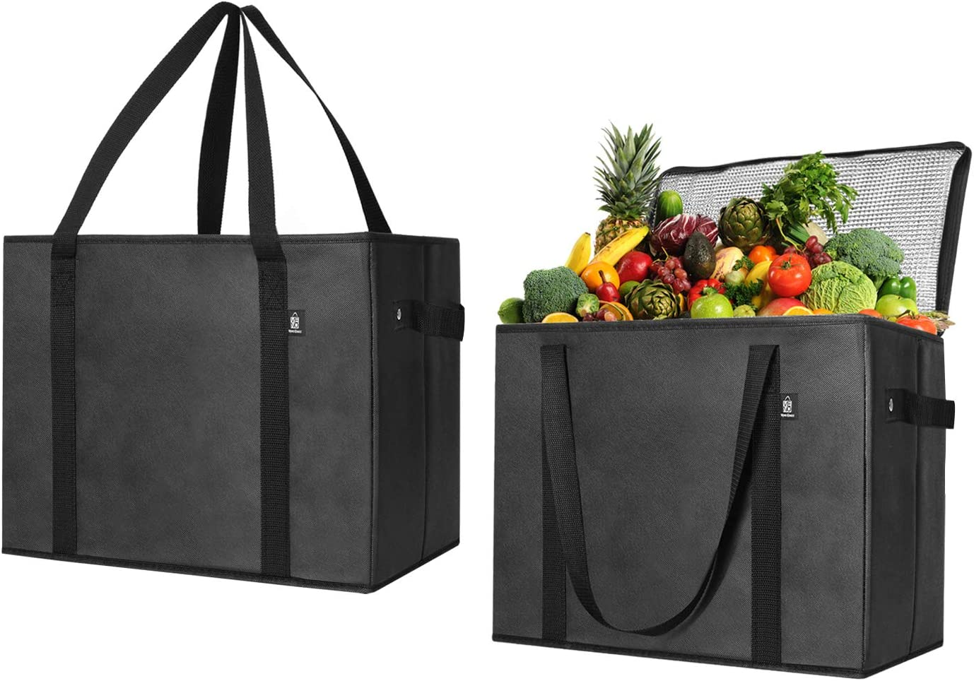 VENO Reusable Insulated Grocery Shopping Bags, 2 X Large Collapsible Insulated zippered Cooler with Reinforced Bottoms, Made of Recycled Material (Pack of 2)