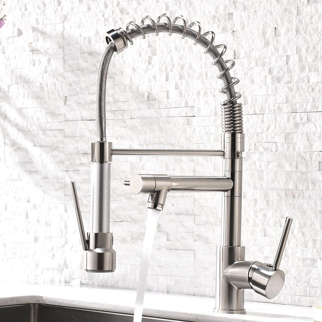 Aimadi Contemporary Kitchen Sink Faucet Single Handle Stainless Steel Kitchen Faucets With Pull Down Sprayer Brushed Nickel Amazon Com