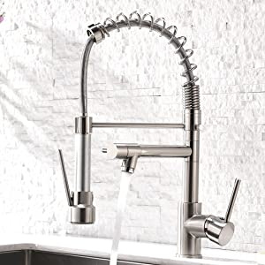 Aimadi Contemporary Kitchen Sink Faucet,Single Handle Stainless Steel Kitchen Faucets with Pull Down Sprayer,Brushed Nickel