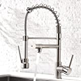 Aimadi Contemporary Kitchen Sink Faucet,Single Handle Stainless Steel Kitchen Faucets with Pull Down Sprayer,Brushed…