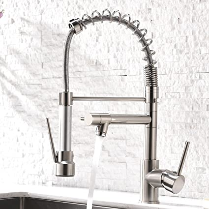 Aimadi Contemporary Kitchen Sink Faucet - Single Handle Stainless Steel Kitchen Faucets with Pull Down Sprayer Brushed Nickel - - Amazon.com  sc 1 st  Amazon.com & Aimadi Contemporary Kitchen Sink Faucet - Single Handle Stainless ...