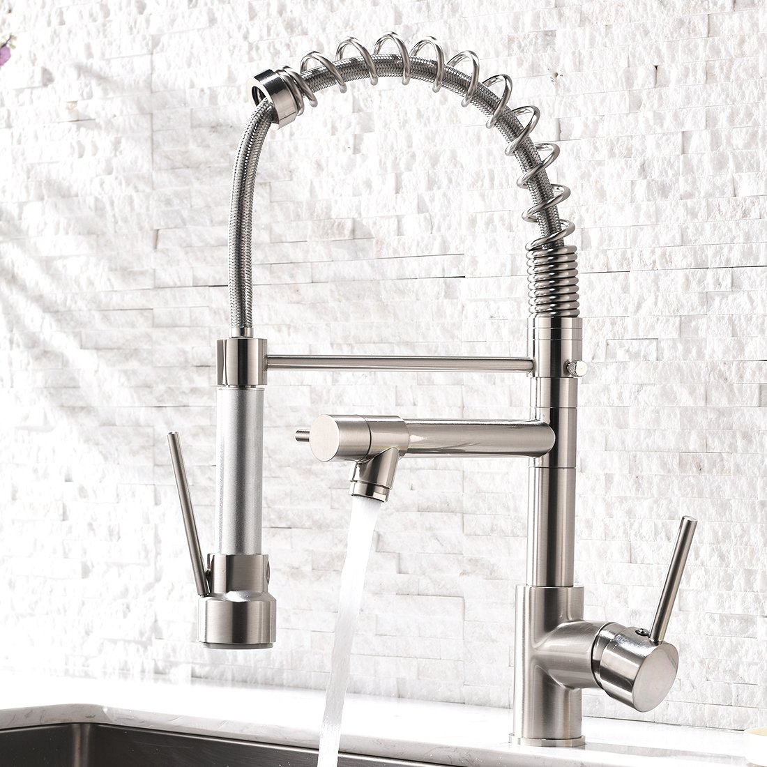 Aimadi Contemporary Kitchen Sink Faucet - Single Handle Stainless Steel Kitchen Faucets with Pull Down Sprayer,Brushed Nickel by AIMADI (Image #7)
