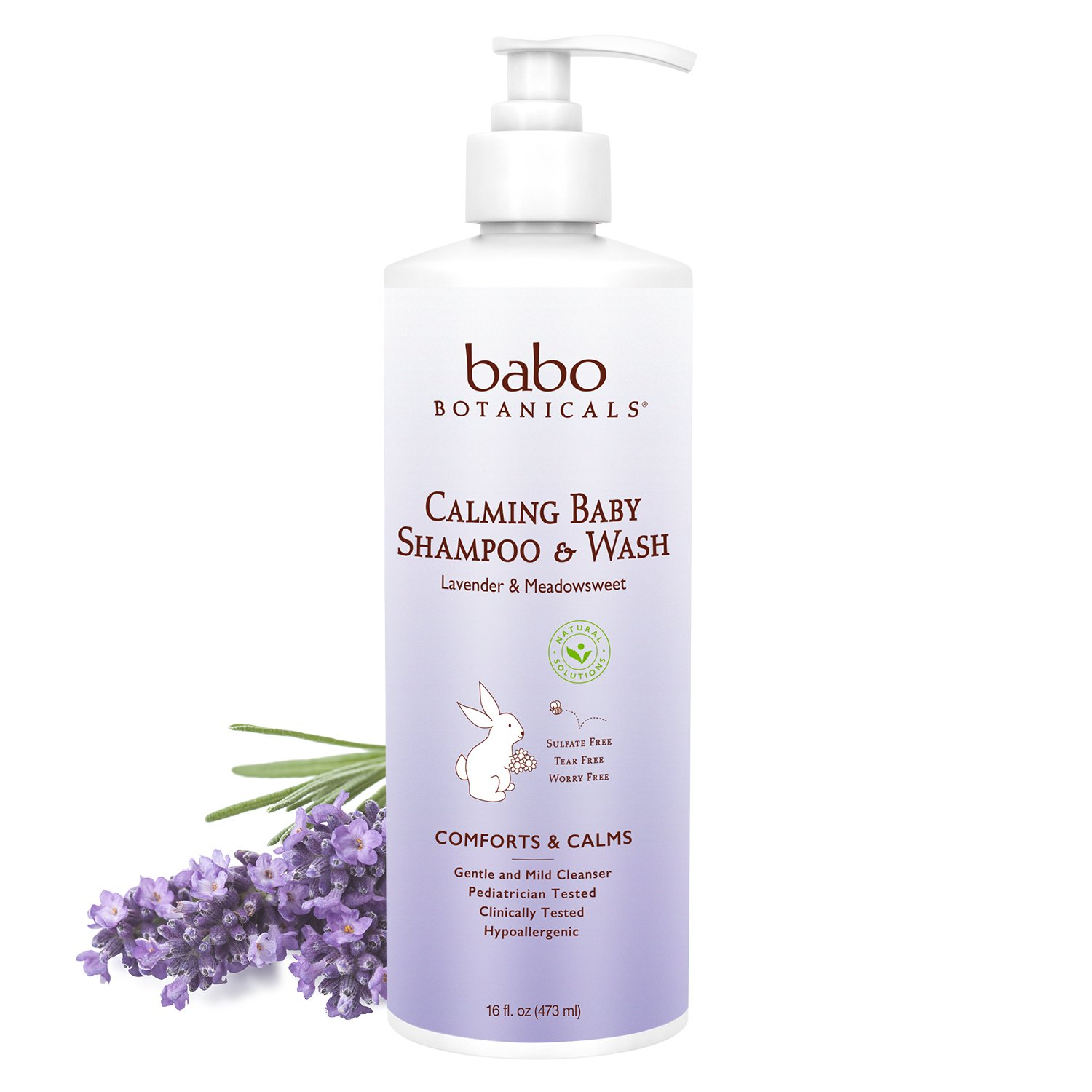 Babo Botanicals Calming 2-in-1 Shampoo & Wash with French Lavender and Organic Meadowsweet, Hypoallergenic, Vegan, for…