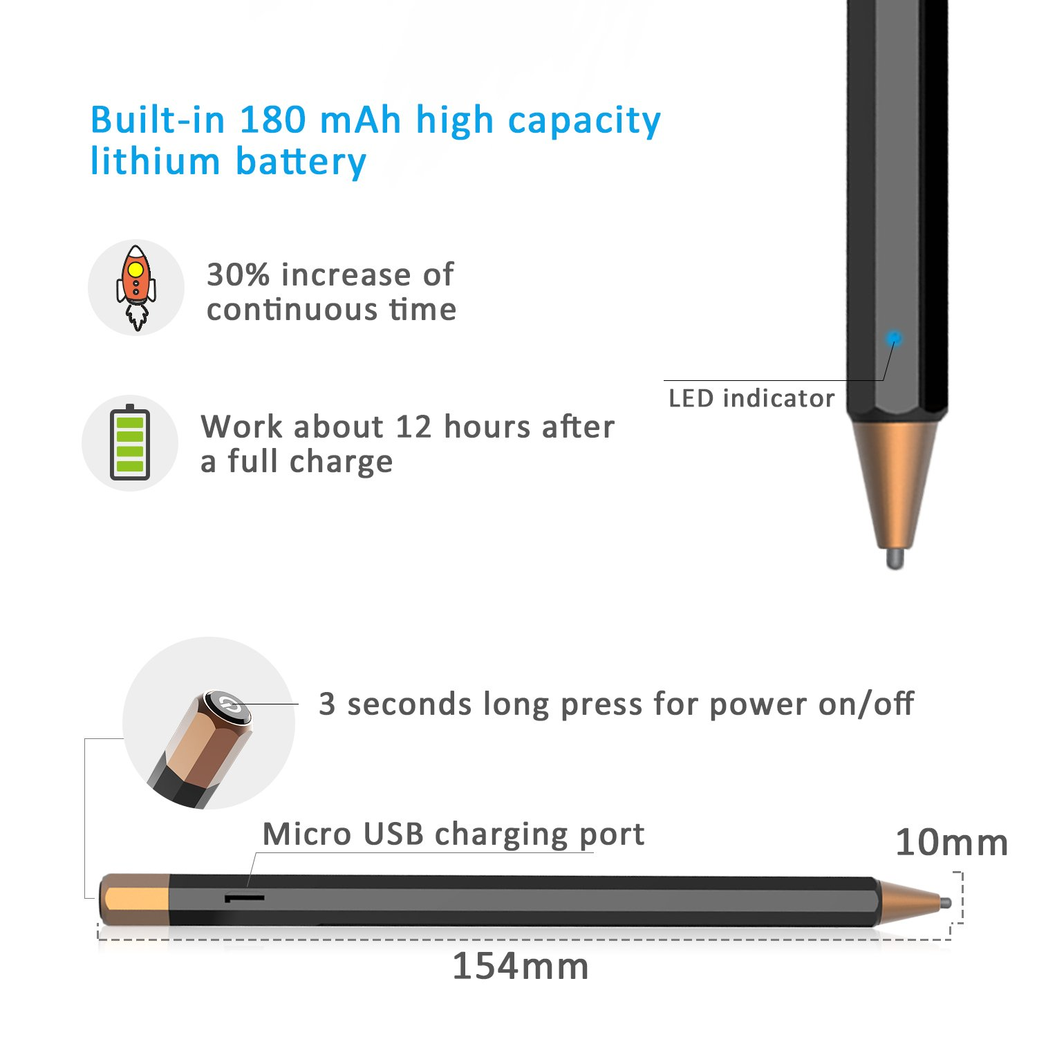 Abida Stylus for iPad, Touchscreen Pen with Fiber Fine Tip, Rechargeable, No Need App or Bluetooth for iOS Devices, Especially for Apple Devices Such as iPad, iPhone, iPad Pro - Brown by Abida (Image #6)