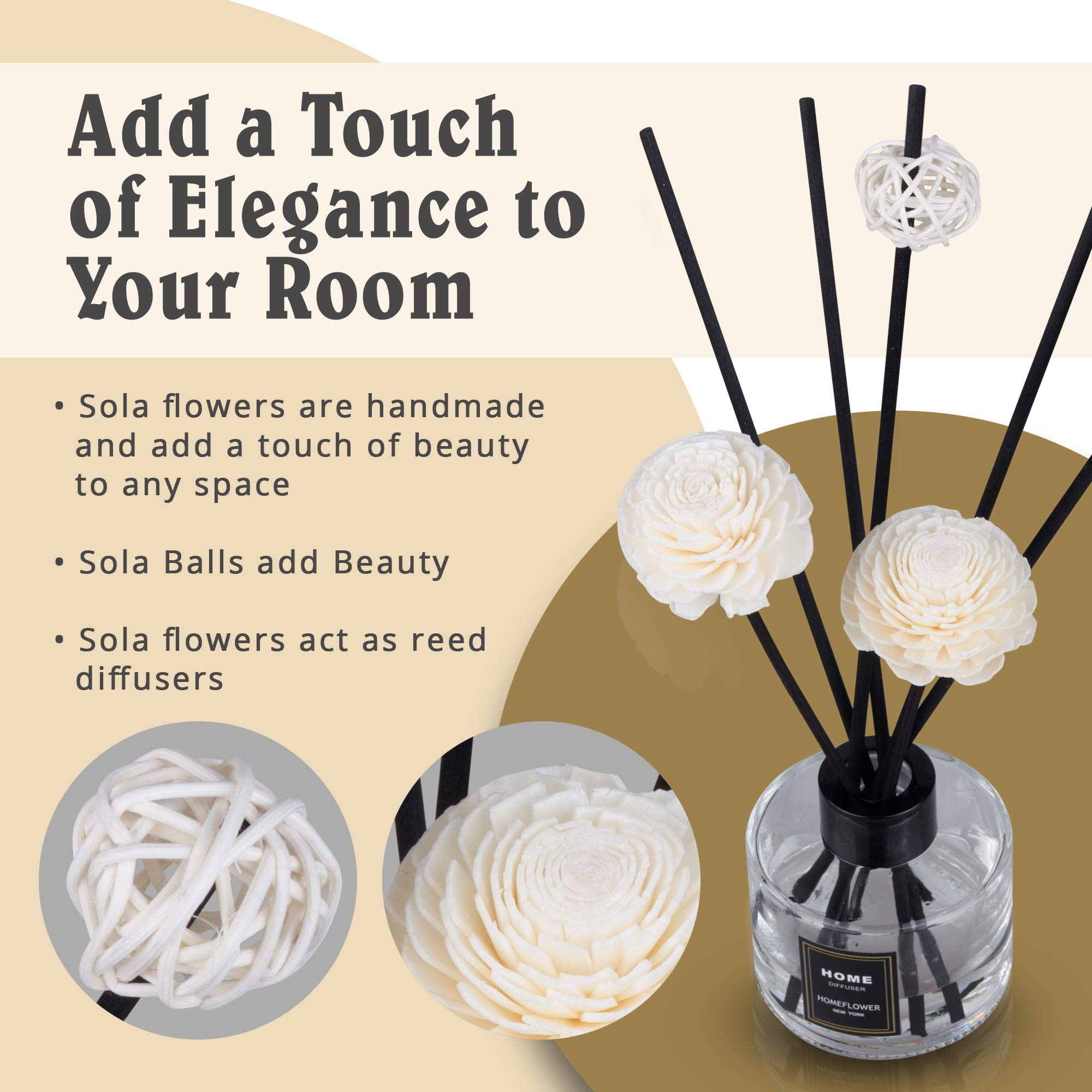 HomeFlower Reed Diffuser Set Lavender: Scent Sticks & Sola Flowers Included - Scented Liquid Fragrance Oil - Room Diffusers for Home or Bathroom - Made with FreshScent Premium Essential Oils - 4 oz by HomeFlower (Image #2)