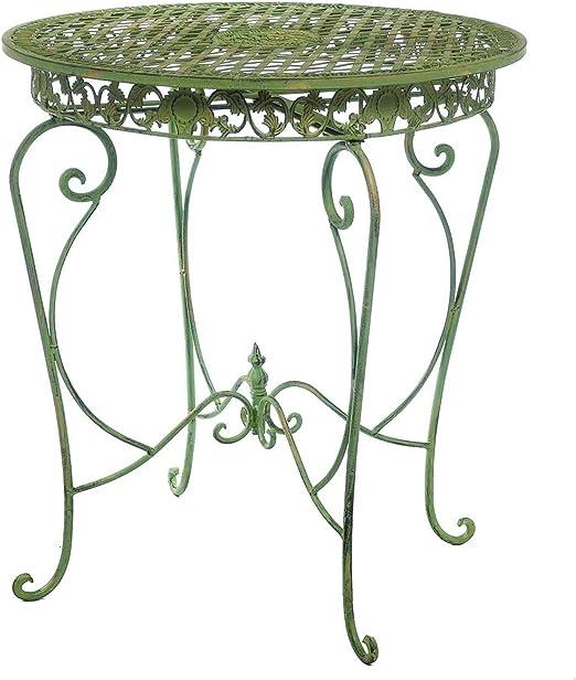 aubaho Mesa de jardín en una cremosa Mesa Verde jardín de Hierro de Estilo Antigua: Amazon.es: Jardín