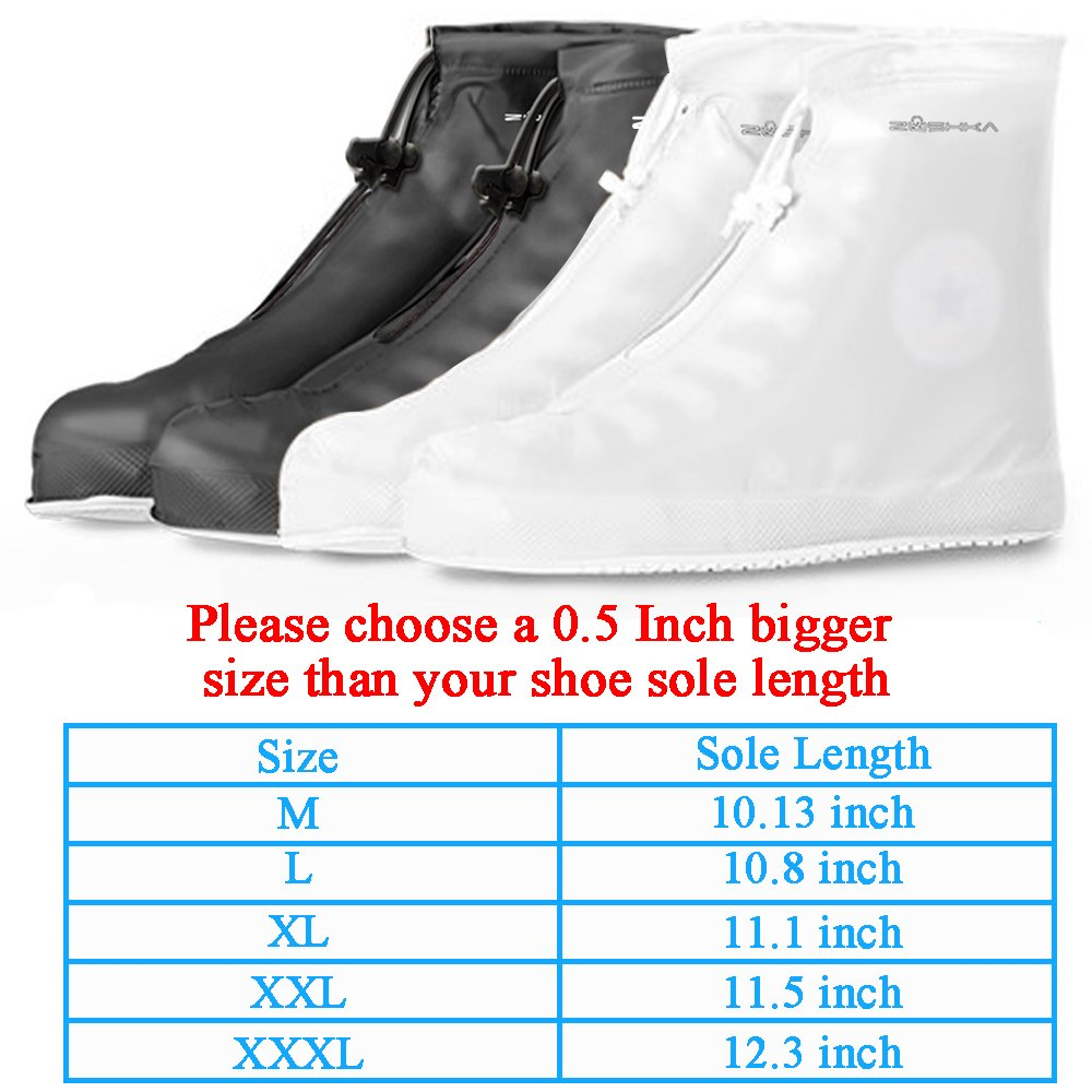 Premium Reusable Boot & Shoe Waterproof Covers, Slip-resistant | Durable, Water Resistant | Adjustable Zippered Over Shoes Slip Protector for Men and Women SMLXLXXL (XL: 11.10 inch, Black) by Zushka (Image #2)