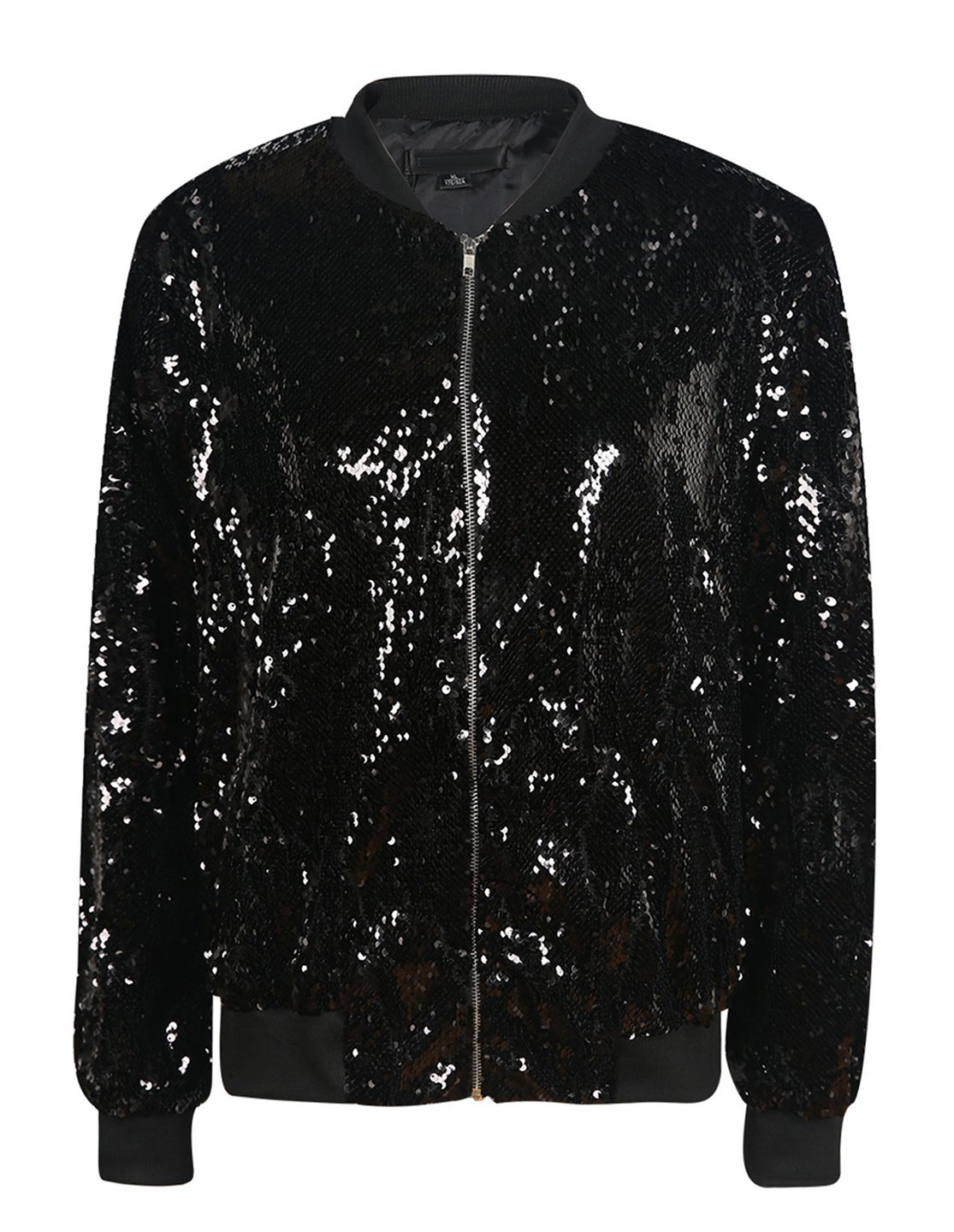 Richlulu Womens Sparkle Mermaid Sequin Threaded Sleeve Bomber Jacket (Medium, Black) by Richlulu