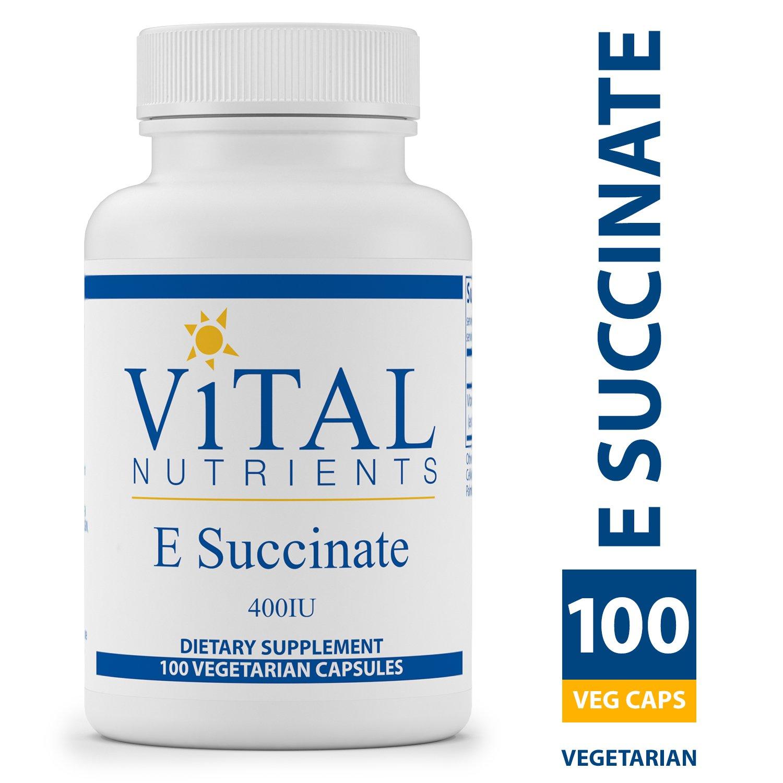 Vital Nutrients - E Succinate 400 IU - Naturally Derived Alpha Tocopheryl Succinate - 100 Capsules