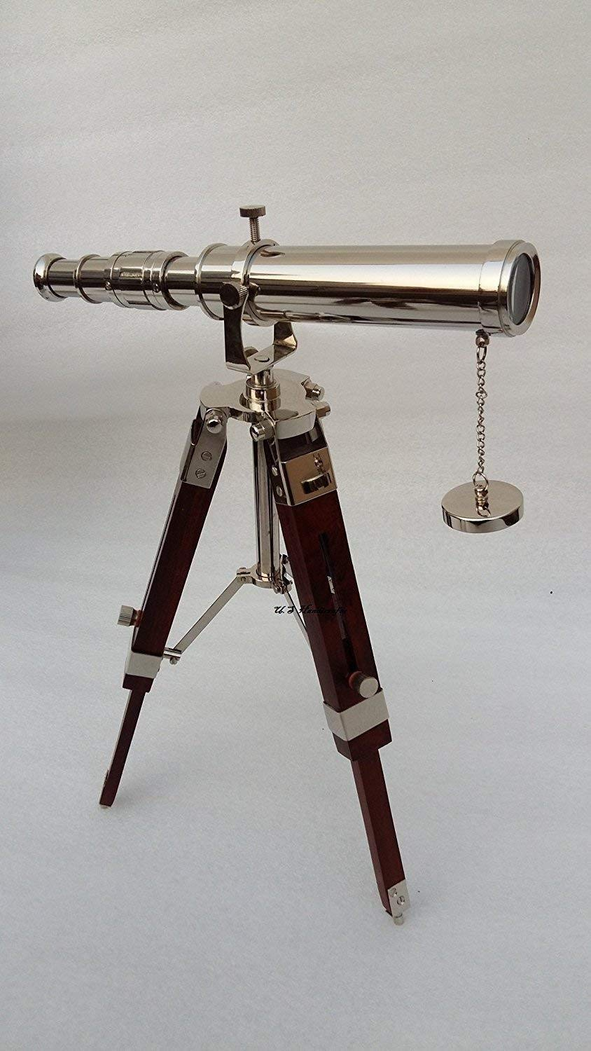 Arsh Nautical Collectible Handmade Brass Marine Telescope with Wooden Tripod Stand A