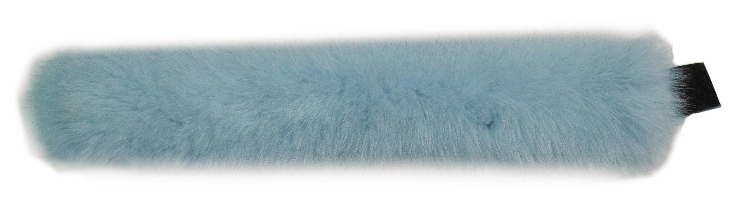 100% Fox Full Fur Multi-Function Neck Warmer/Headband - Light Blue by Hima