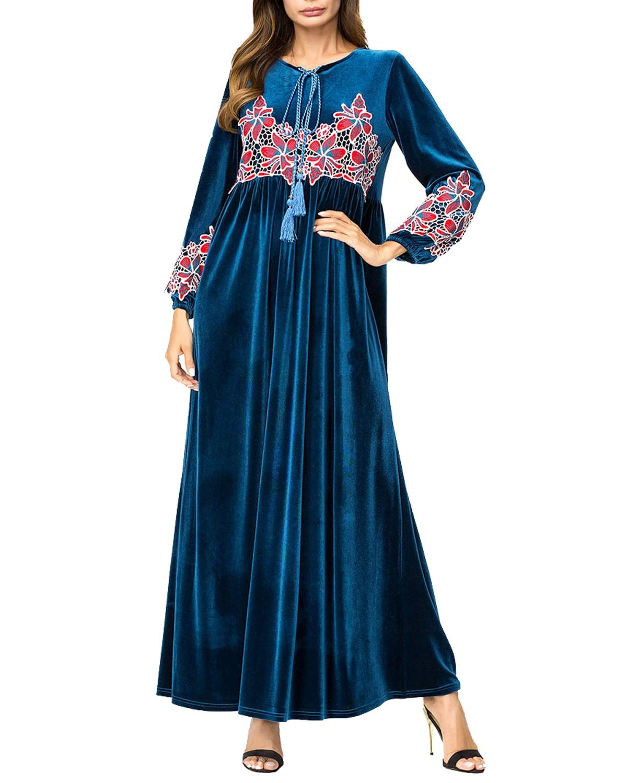 bluee Carriemeow Women's Velvet Full Sleeve Flower Embroidered Patchwork Maxi Dress