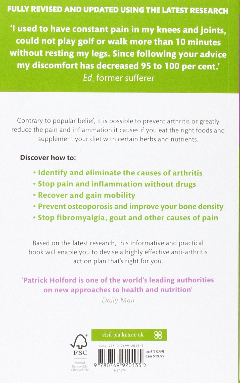 say no to arthritis the proven drug free guide to preventing and