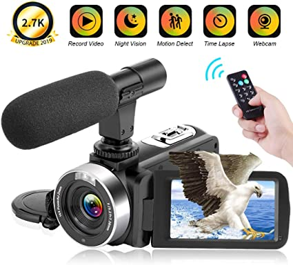 Video Camera 2.7K Camcorder 30FPS 30MP Ultra HD 16X Digital Zoom Camera 3.0 inch Touch Screen IR Night Vision Vlogging Camera for YouTube with Remote ...