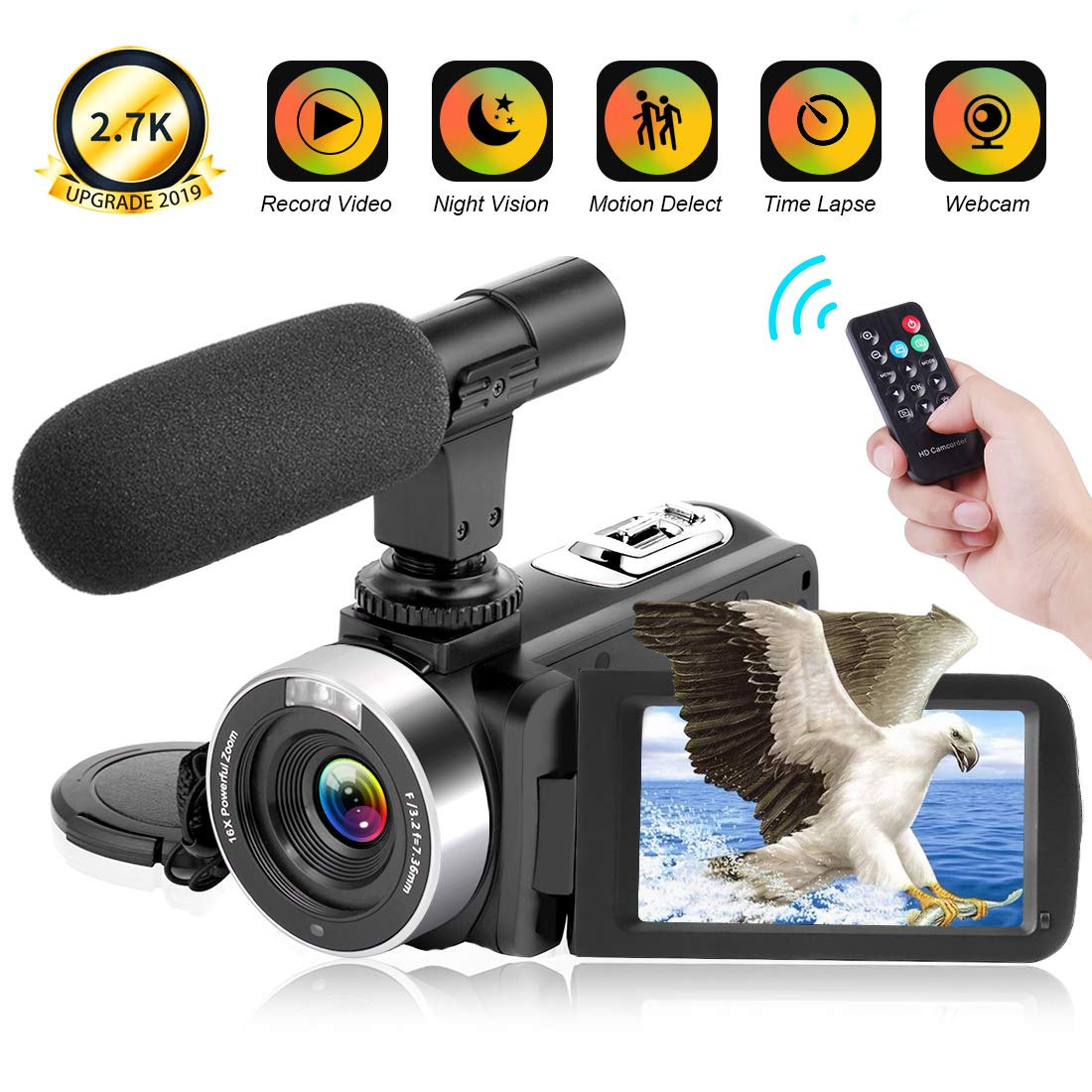 Video Camera 2.7K Camcorder 30FPS 30MP Ultra HD 16X Digital Zoom Camera 3.0 inch Touch Screen IR Night Vision Vlogging Camera for Youtube with Remote and Microphone Webcam Recorder