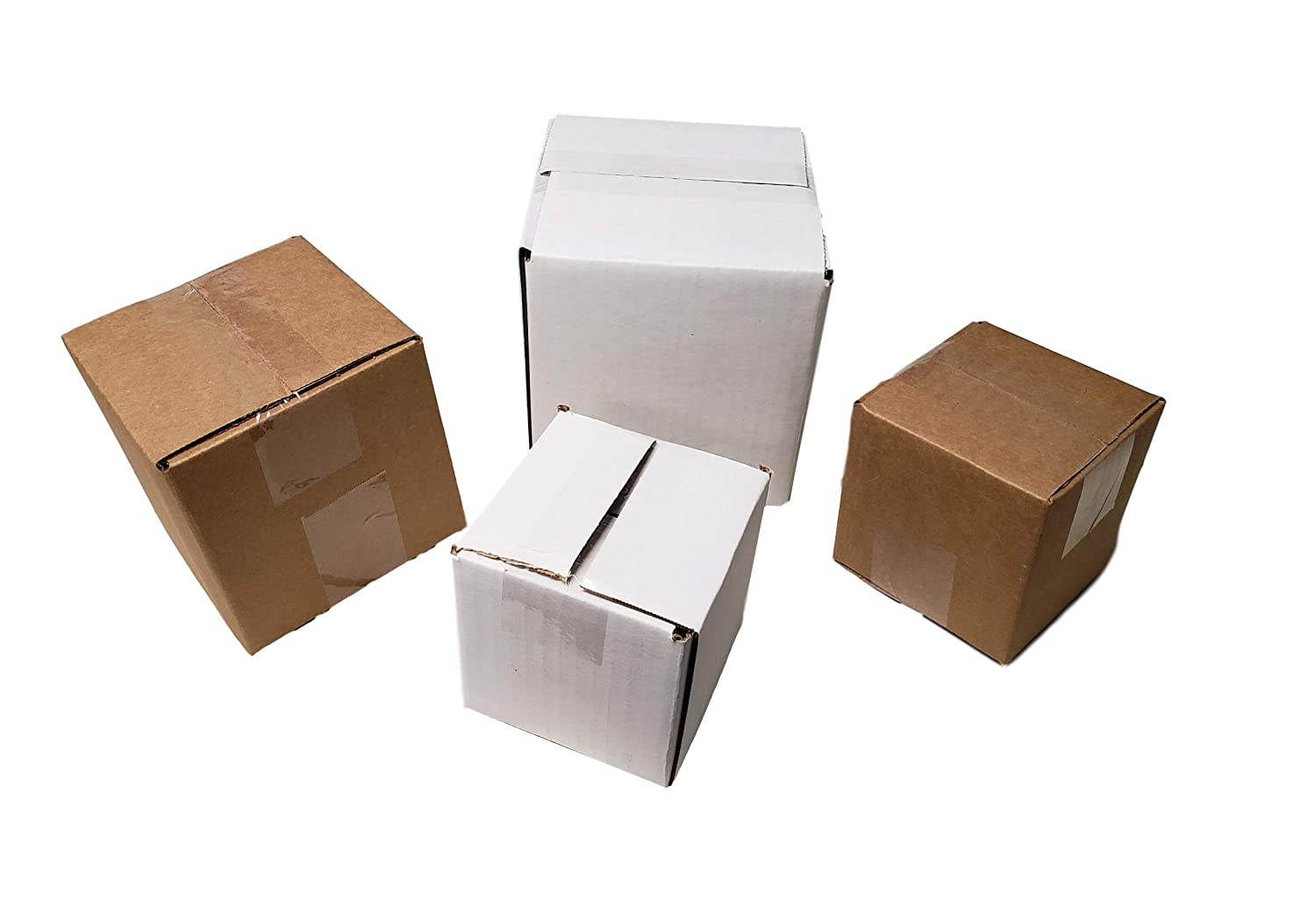 """Sturdy White Corrugated Cardboard Boxes for Shipping and Mailing Size 4"""" x 4"""" x 4"""" By MT Products (15 Pieces): Home Improvement"""
