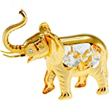 African Elephant 24k Gold Plated Tabletop Metal Figurine with Sparkling Clear Spectra Crystals by Swarovski