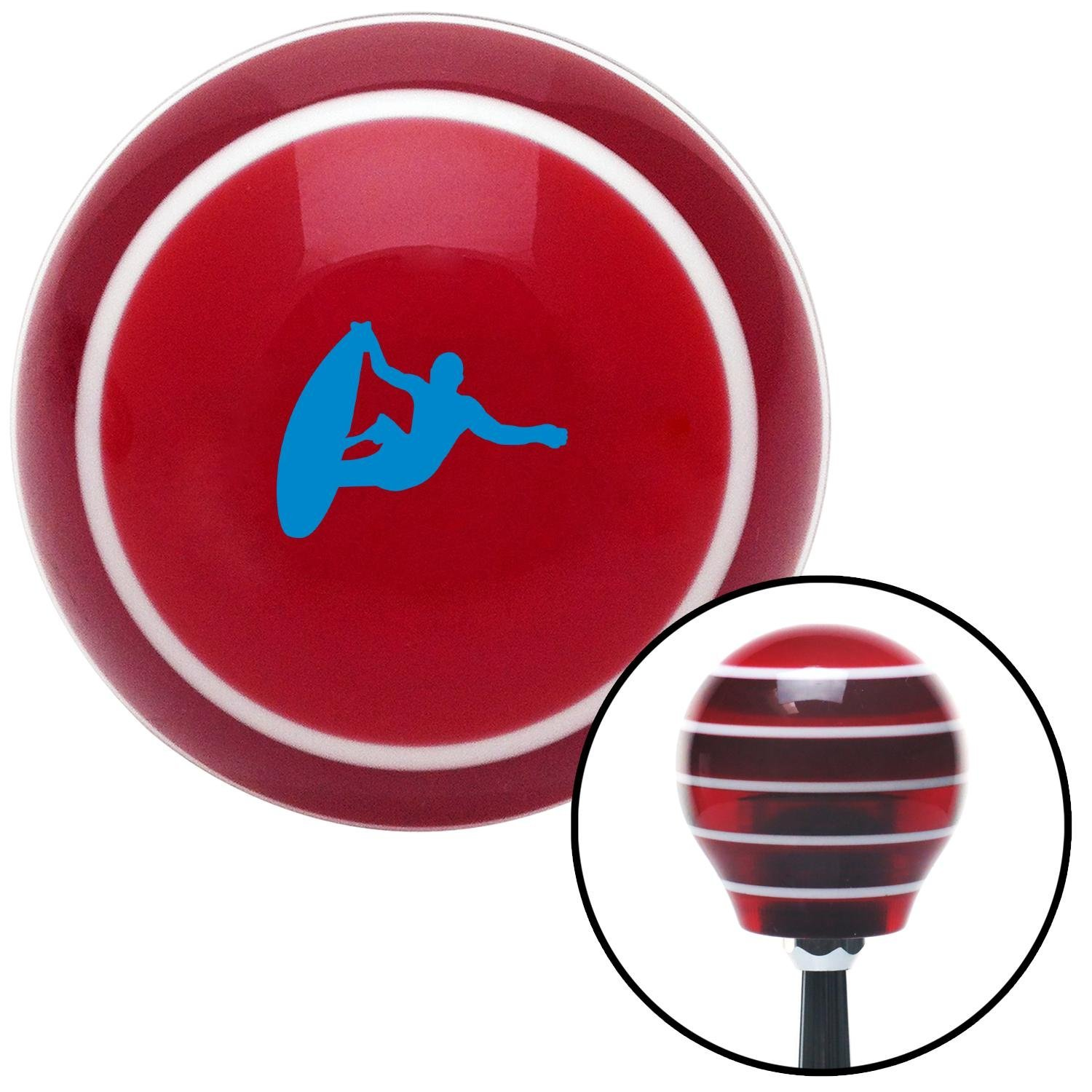 Blue Surfer Catching A Wave Red Stripe with M16 x 1.5 Insert American Shifter 273729 Shift Knob