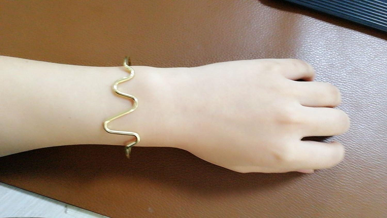 NOUMANDA Simple Heartbeat Electrocardiogram Open Adjustable Cuff Bangle Bracelet