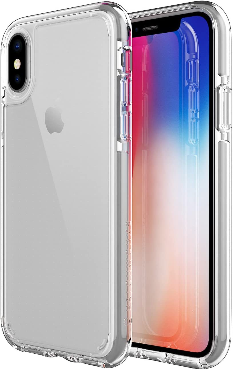 PATCHWORKS iPhone X Clear Case, [Pure Shield EX] Smudge-Free Back PC Soft TPU Bumper with Elastomer and Air Pocket Corner Impact Drop Protection [Wireless Charging] for iPhone X (2017) (Grey Clear)